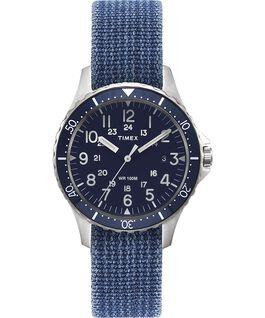 Zegarek Navi Ocean z kopertą 38 mm i dwustronnym paskiem z dekatyzowanego materiału Stal nierdzewna/Niebieski/Czarny large