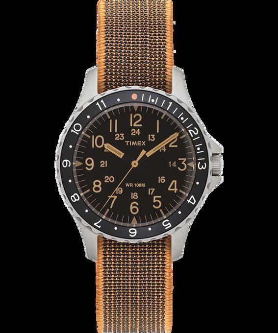 Zegarek Navi Ocean z kopertą 38 mm i paskiem z elastycznego materiału Stal nierdzewna/Czarny large