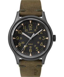 Zegarek MK1 ze stalową kopertą 40 mm i skórzanym paskiem Szary/Zielony/Czarny large