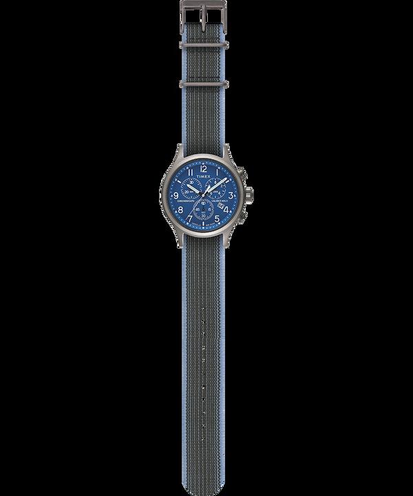 Zegarek Allied Chronograph z kopertą 42 mm i paskiem z elastycznej tkaniny Srebrny large