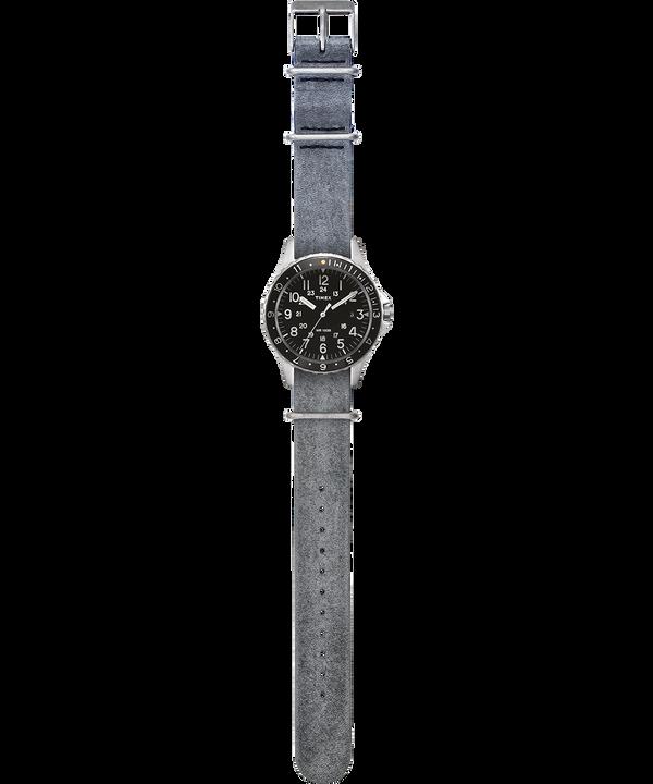 Zegarek Navi Ocean z kopertą 38 mm i dekatyzowanym paskiem skórzanym Stal nierdzewna/Szary/Czarny large