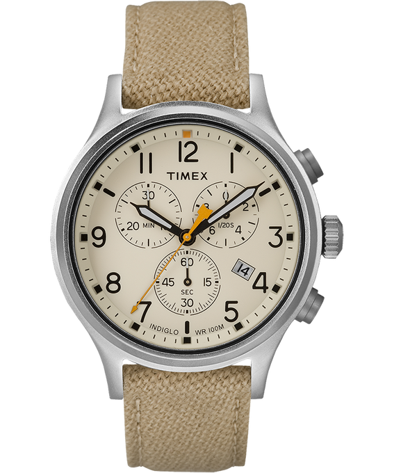 Allied Chronograph 42mm Fabric Strap Watch Silver-Tone/Tan/Natural large