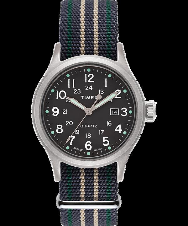 Zegarek Allied z kopertą 40 mm i paskiem materiałowym Srebrny/Zielony large
