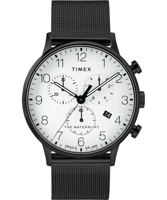 Waterbury 40mm Classic Chrono Mesh Bracelet Watch Black/White large