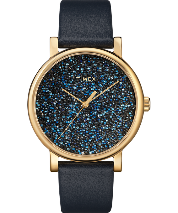 Zegarek Crystal Opulence z kopertą 38 mm, tarczą z kryształkami Swarovski oraz skórzanym paskiem W kolorze złota/Niebieski large