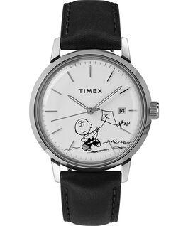 Zegarek Timex x Peanuts Marlin Automatic 40 mm z podobizną Charliego Browna i paskiem skórzanym Stal nierdzewna/Czarny/Biały large