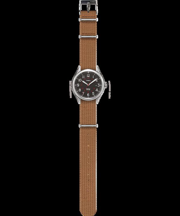 Zegarek Waterbury United 38 mm z paskiem materiałowym Stal nierdzewna/Kremowy large