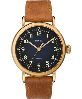 Zegarek Standard z kopertą 40 mm i skórzanym paskiem Złoty/Brązowy/Niebieski large