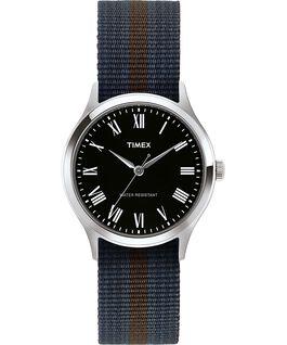 Zegarek Whitney Avenue z kopertą 38 mm i dwustronnym paskiem z tkaniny Stal nierdzewna/Czarny large