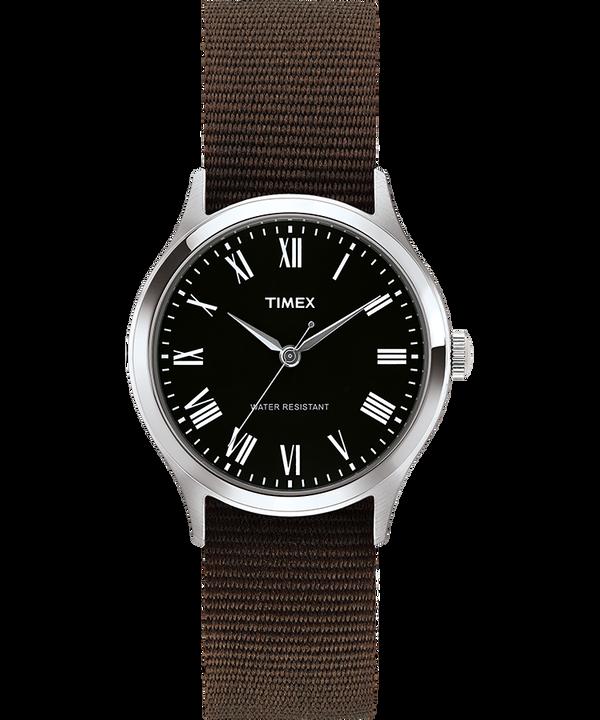 Zegarek Whitney Avenue z kopertą 36 mm i dwustronnym paskiem z grogramu Stal nierdzewna/Czarny large