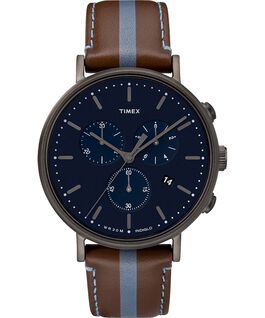 Fairfield Chronograph 41mm Leather Watch with Stripe Gunmetal/Brown/Blue large