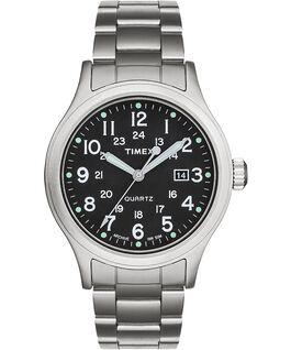 Zegarek Allied z kopertą 40 mm i regulowaną stalową bransoletą Srebrny/Stalowy/Zielony large