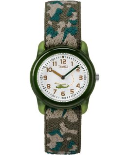 Kids Analog 29mm Elastic Camo Fabric Watch Green/White large