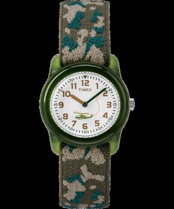 Dziecięcy zegarek analogowy z kopertą 29 mm i paskiem z elastycznego materiału Green/White large