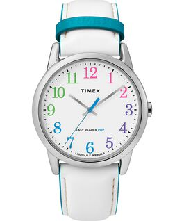 Easy Reader Color Pop 38mm Leather Strap Watch Silver-Tone/White large