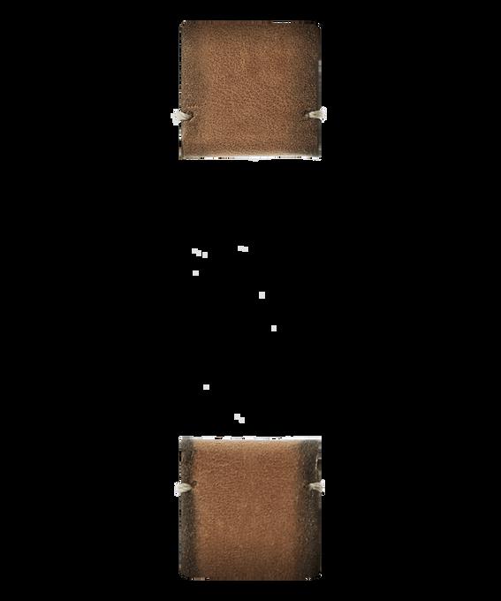 Dwuczęściowy jasnobrązowy skórzany pasek  large