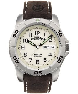 Expedition Traditional 40mm Leather Watch Silver-Tone/Brown/Natural large