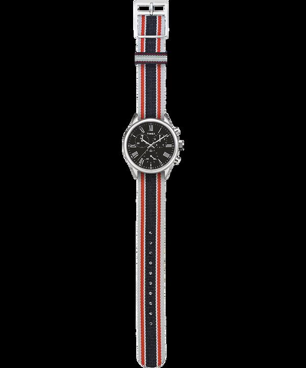 Zegarek Weston Avenue z kopertą 38 mm i paskiem z grogramu Stal nierdzewna/Czarny large