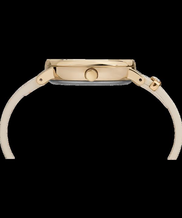 Zegarek Fairfield Crystal z kryształkami Swarovski®, kopertą 37 mm i skórzanym paskiem Gold-Tone/White large