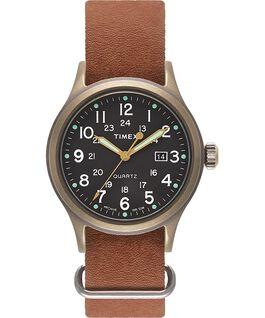 Zegarek Allied z kopertą 40 mm i skórzanym dekatyzowanym paskiem Metaliczny brąz/Brązowy/Czarny large
