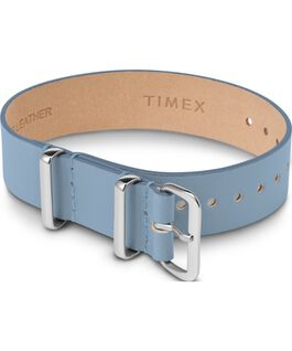 16mm Leather Single Layer Slip Thru Strap with Silver Blue large