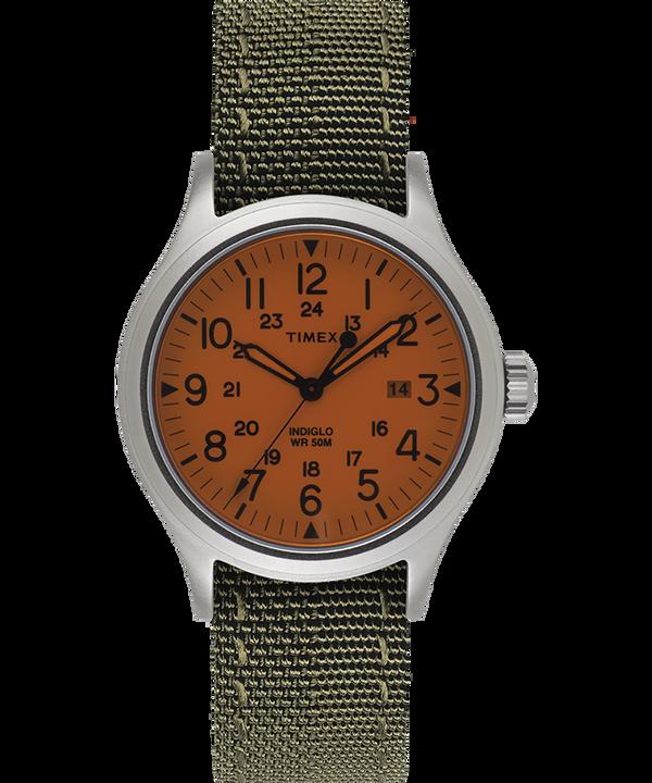 Zegarek Allied z kopertą 40 mm i dwustronnym paskiem materiałowym z detalem odblaskowym Srebrny/Biały large