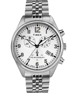 Waterbury Traditional Chronograph 3-Dial 42mm Stainless Steel Bracelet Watch Stainless-Steel/White large