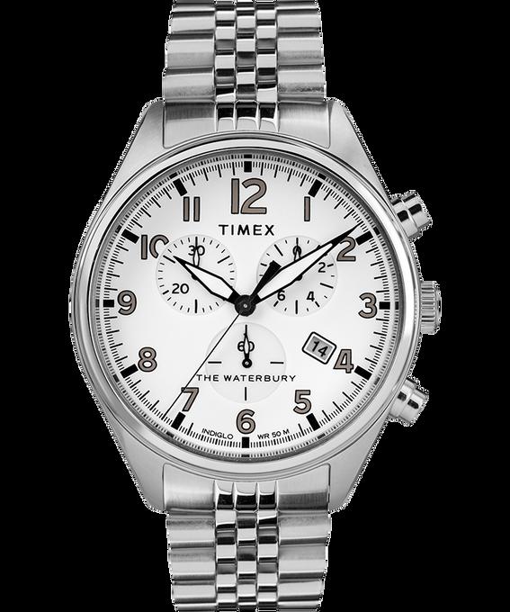 Zegarek Waterbury Traditional Chronograph z trzema wskazówkami, kopertą 42 mm i stalową bransoletą Stal nierdzewna/Biały large