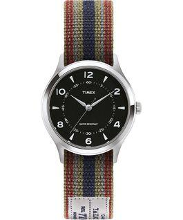Zegarek Whitney Village z kopertą 36 mm i dwustronnym paskiem z grogramu-1 Stal nierdzewna/Czarny large
