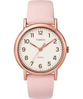 Zegarek Weekender z kopertą 38 mm i skórzanym paskiem Różowe złoto/Różowy/Kremowy large