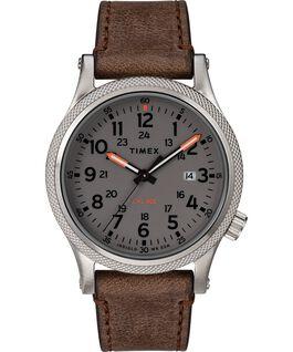 Zegarek Allied LT z kopertą 40 mm i skórzanym paskiem Srebrny/Brązowy/Szary large
