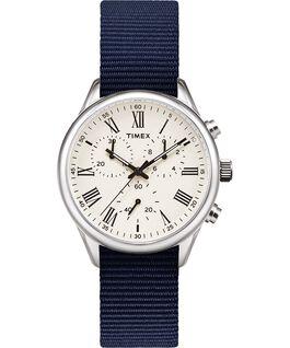 Zegarek Weston Avenue z kopertą 38 mm i paskiem materiałowym Stal nierdzewna/Niebieski/Kremowy large