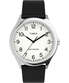 Zegarek Easy Reader Gen1 40 mm z paskiem skórzanym Srebrny/Czarny/Biały large
