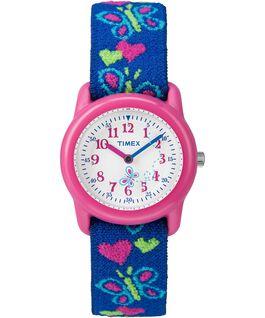 Dziecięcy zegarek analogowy z kopertą 29 mm i paskiem z elastycznego materiału Pink/Blue/White large