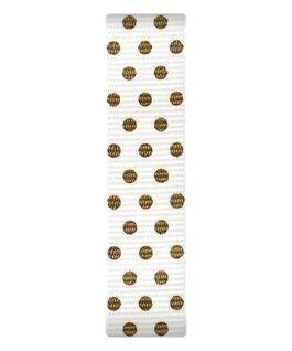 Kremowy nylonowy pasek przewlekany w złote kropki  large