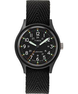 Zegarek MK1 z kopertą 40 mm i paskiem materiałowym Czarny/Czarny large