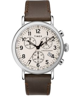 Standard Chronograph 41mm Leather Strap Watch Silver-Tone/Brown/Cream large