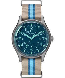 MK1 California 40mm Fabric Strap Watch Silver-Tone/Gray/Blue large