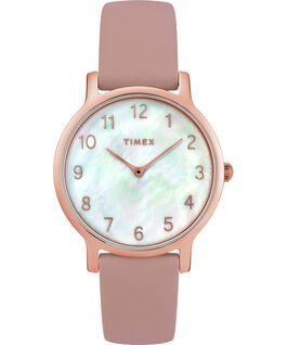 Zegarek Metropolitan z kopertą 34 mm, skórzanym paskiem i tarczą w kolorze masy perłowej Różowe złoto/Różowy/Masa perłowa large
