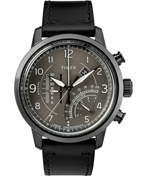 Waterbury Linear Chronograph 45mm Leather Watch