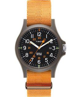 Zegarek Acadia z kopertą 40 mm i paskiem materiałowym Zielony/Pomarańczowy/Czarny large