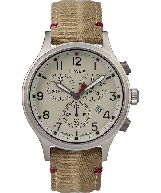 Allied Chronograph 42mm Fabric Strap with Red Accent Watch Silver-Tone/Tan/Natural large