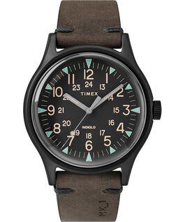 Zegarek MK1 ze stalową kopertą 40 mm i skórzanym paskiem Czarny/Brązowy large