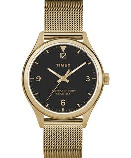 Damski zegarek Waterbury Traditional 34 mm z siatkową bransoletą Złoty/Czarny large