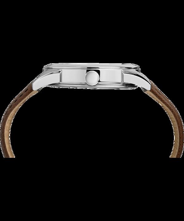 Zegarek męski Torrington z funkcją daty, kopertą 40 mm i skórzanym paskiem Stal nierdzewna/Brązowy/Srebrny large
