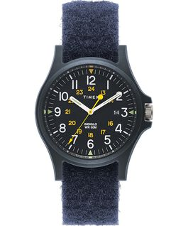 Zegarek Acadia z kopertą 40 mm i paskiem z tkaniny na rzepy Niebieski large