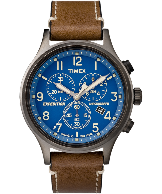 Expedition Scout Chronograph 42mm Leather Watch Gray/Brown/Blue large