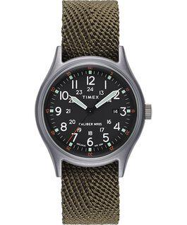 Zegarek MK1 z kopertą 40 mm i paskiem materiałowym Srebrny/Zielony/Czarny large