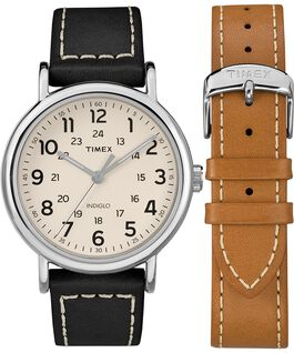 Zegarek Weekender z kopertą 40 mm i skórzanym paskiem w zestawie prezentowym Chromowany/Czarny/Kremowy large