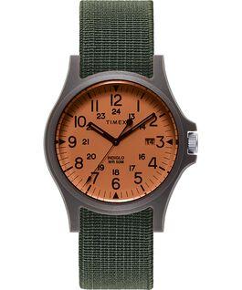 Zegarek Acadia z kopertą 40 mm i paskiem z elastycznego materiału Czarny/Zielony/Pomarańczowy large
